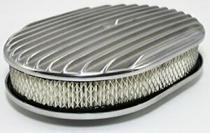 12 X 2 Oval Full Finned Polished Aluminum Air Cleaner Assembly 12x2 Retro