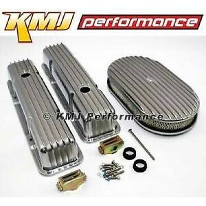 Chevy 307 327 350 400 Finned Retro Polished Aluminum Valve Covers W Air Cleaner