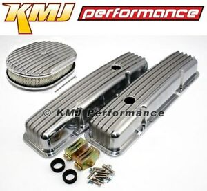 58 86 Sbc Chevy 327 Finned Retro Polished Aluminum Valve Covers W Air Cleaner