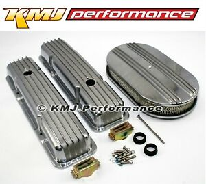 Chevy 305 350 Half Finned Short Polished Aluminum Valve Covers Air Cleaner Kit