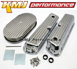 Ford 302 5 0l 351w Windsor Finned Polished Aluminum Valve Covers Air Cleaner Kit