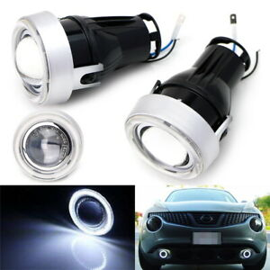 3 Projector Fog Light Lamps W White 40 led Halo Angel Eyes Rings For Car