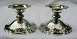 Fine Old Japanese 950 Sterling Silver Decorated Candlesticks Signed