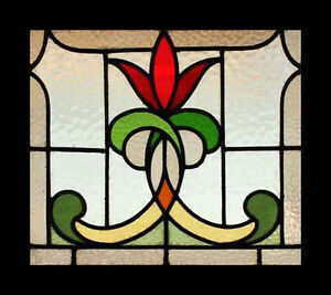Stunning Art Nouveau Flower Antique English Stained Glass Window