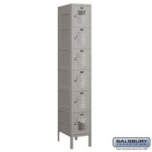 Salsbury Vented Metal Locker Six Tier Box Style 1 Wide 6 Feet High 18 Deep Gray