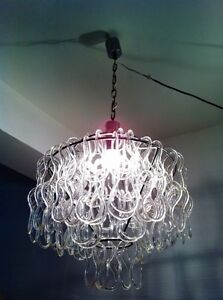 Rare Vintage Murano Glass Chandelier Ceiling Lamp Mid Century Modern Design