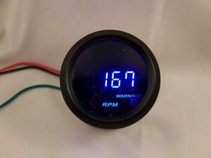 2 Digital Tachometer Gauge Black With Cobalt Blue Led
