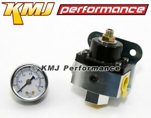 5 12 Psi Adjustable Fuel Pressure Regulator Black Anodized Aluminum 3 8 W Gauge