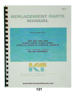 Kearney Trecker Replacement Parts Manual 315ch 415ch 210ch 14 121