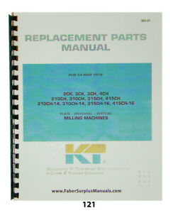 Kearney Trecker Replacement Parts Manual 310ch 14 315ch 16 415ch 16 121