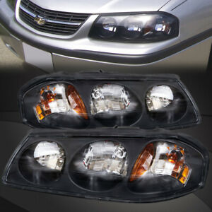 Headlights Set Halogen W bulbs Left Right Pair Fits 2000 2005 Chevrolet Impala