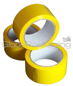 12 Rolls Yellow Coloured Packing Parcel Tape 50mmx66m