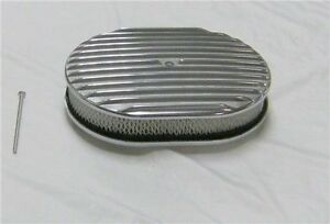 12 Oval Polished Aluminum Finned Air Cleaner Classic Nostalgia Ford Chevy Mopar