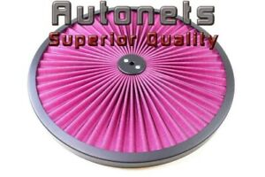 14 Round Red Flow Thru Washable Air Cleaner Lid Top Only Sbc Bbc Hot Street Rod