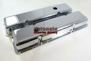 Sbc Chevy 327 350 400 Short Stock Chrome Smooth Aluminum Valve Covers W Hole