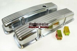 Sb Chevy Finned Polished Aluminum Valve Covers Short Sbc 283 305 327 350 Classic