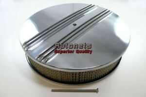14 Round Nostalgic Split Finned Polished Aluminum Air Cleaner Chevy Ford Gm