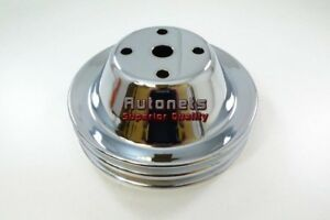 Chrome Small Block Sbc Chevy Long Water Pump Upper Pulley 2 Double Groove Lwp305