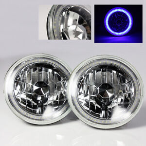 97 16 Jeep Wrangler Tj Jk 7 Blue Led Smd Halo Round Chrome Clear Headlights 2x