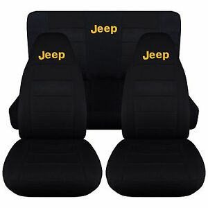1997 2002 Jeep Wrangler Tj Seat Covers Solid Black With Yellow Jeep