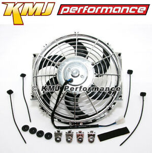 12 Chrome S blade Curved Electric Radiator Cooling Fan Universal Mounting Kit