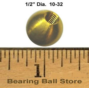 25 1 2 Dia Threaded 10 32 Brass Balls Drilled Tapped