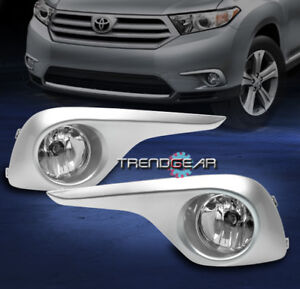 For 2011 2012 2013 Toyota Highlander Bumper Chrome Fog Lights Lamp Cover Harness