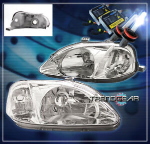 1999 2000 Honda Civic 2 3 4dr Crystal Headlight hid Kit Lamp Jdm Chrome Hx Lx Si