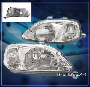 1999 2000 Honda Civic 2 3 4dr Crystal Headlight Lamp Jdm Clear Gx Hx Si Assembly