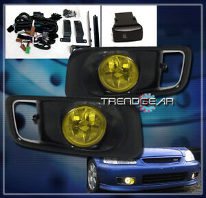 1999 2000 Honda Civic Cx Dx Ex Si Jdm Bumper Yellow Fog Lights Lamp Harness Bulb