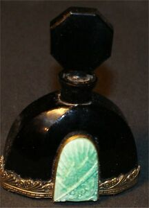 C1930 Czech Art Deco Perfume Bottle Black W Brass Trim Malachite Dauber