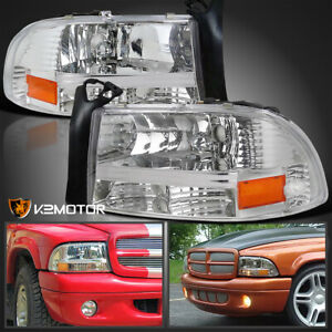 Fits 1997 2004 Dodge Dakota Durango Clear Headlights Lamps Pair Replacement