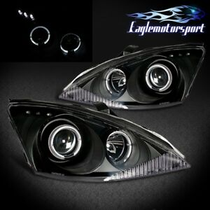 angel Eye Halo 2000 2001 2003 2004 Ford Focus Led Projector Blk Headlights Pair