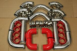 Red 3 Turbo Intercooler Piping Kit coupler clamp Civic Crx Del Sol B16 B18