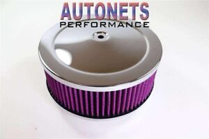 6 3 8 Round Air Cleaner Chrome Muscle Car Washable 5 1 8 Neck Chevyford Mopar