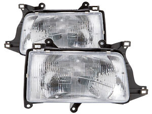 Headlights Halogen Chrome Pair Left Right Set Fits 93 98 Toyota T100 Pick Up