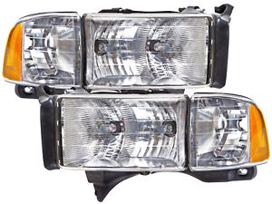Headlights Pair Set Fits 99 01 Dodge Ram Sport Pickup 1500 2500 3500