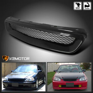 For 1996 1998 Honda Civic Jdm Black Abs Front Hood Grill Grille
