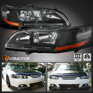 For 98 02 Honda Accord Jdm Black Front Diamond Headlights Left Right