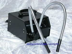 New Cold Fiber Optic Microscope Illuminator W Dual Y shape Pipe Gooseneck Fiber