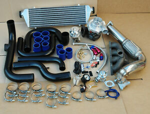 92 00 Civic B Series Turbo Kit black Pipe Blue Coupler cast Manifold chrome Bov