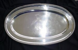 Fine Large Gadroon Edge Solid Silver Tray Czechoslovakia Ca 1922 800 Purity