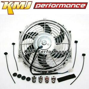 14 Chrome Curved S blade Electric Radiator Cooling Fan Universal Mounting Kit