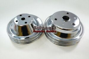 Sbc Chrome Small Block Chevy Long Water Pump Crank Pulley Double 2 Groove Lwp350