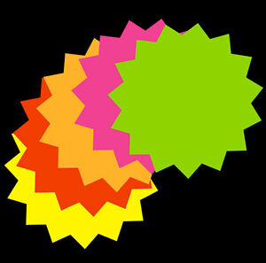 50 Packs 4 x 4 Fluorescent Star Burst Price Tag Neon Retail Sale Tags Cards