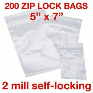 200 Piece 5 X 7 2mil Zip Lock Bags Poly Reclosable Plastic Bags Clear Baggies