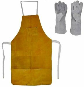 Leather Heat Resistant Safety Apron Glove Set Melting Refining Gold Silver 32