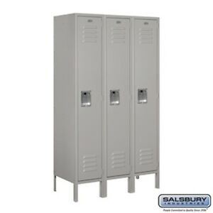 Salsbury Metal Locker Single Tier 3 Wide 5 High 15 Deep Gray 61355gy u New