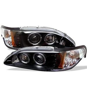 Projector Head Lights Lamps 1pc Ford Mustang 1994 1998 Halo Led Black