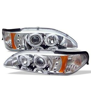 Projector Head Lights Lamps 1pc Ford Mustang 1994 1998 Halo Led Chrome